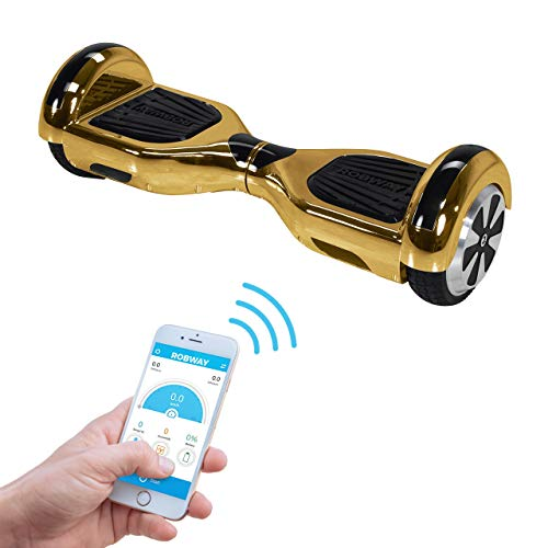 W1 Original Hoverboard Robway Chrom Edition - Self Balance - Bluetooth - App Steuerung - 2 x 350 Watt Motoren - LED - Elektro Scooter Self Balance Board (Gold Chrom)