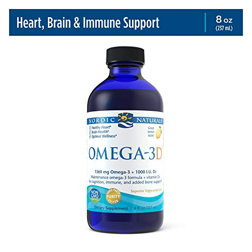 Nordic Naturals Omega-3D, Lemon Flavor - 1560 mg Omega-3 + 1000 IU Vitamin D3 - 8 oz - Fish Oil - EPA & DHA - Immune Support, Brain & Heart Health, Healthy Bones - Non-GMO - 48 Servings