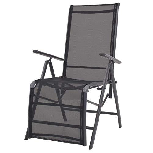 vidaXL Chaise Inclinable de Terrasse Transat de Jardin Bain de Soleil de Patio Chaise Longue de Terrasse Extérieur Aluminium et Textilène Noir