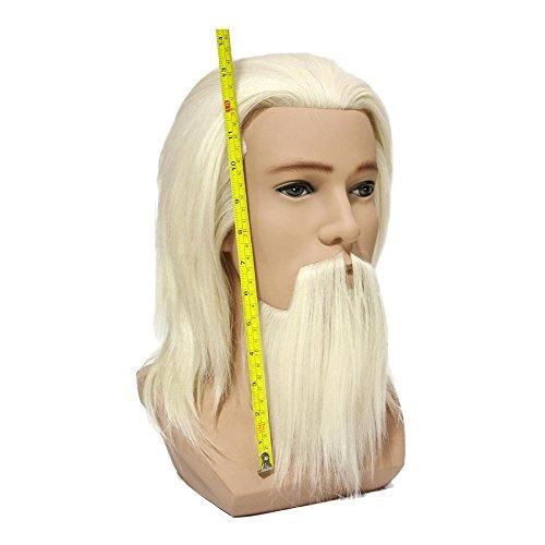 Tête école de compétition de coiffure à poils de yack blanche avec barbe et moustache MHK-15