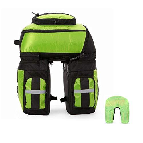 Sacoche de vélo arrière étanche 3 en 1 pour VTT 70 l avec housse de pluie (couleur : vert)