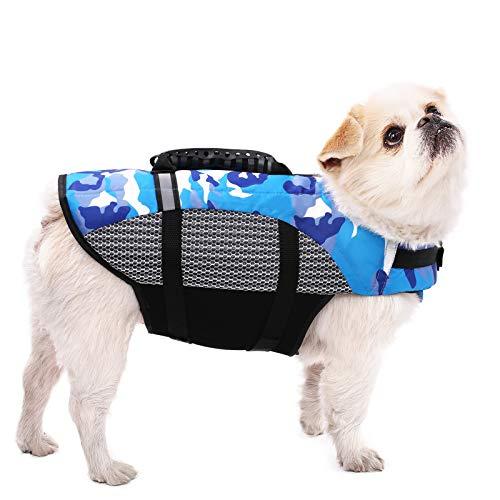 SAWMONG Dog Life Jacket for Small Medium Large Dogs, Adjustable Dog Flotation Vest, Dog Safety Life...