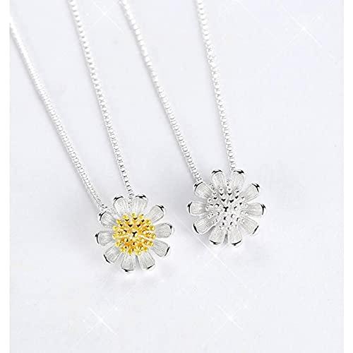 YQMJLF Collar Moda Accesorios Collares Mujer Collar de Plata para Mujer Daisy Girasol Colgante Collar de clavícula Collares joyería de Verano Joyas Mujer Navidad año Nuevo cumpleaños Regalos