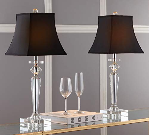 hp table lamps Safavieh Lighting Collection Harlow Crystal/ Black Shade 25-inch Bedroom Living Room Home Office Desk Nightstand Table Lamp (Set of 2) - LED Bulbs Included