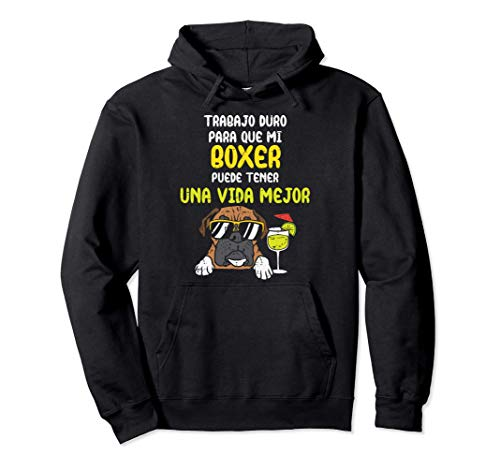 Perro Boxer Better Life Gafas Humor Animal Lover Regalo Sudadera con Capucha