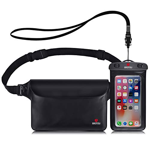 BROTOU Universal Waterproof Waist Pouch and Phone Case IPX8 Waterproof Dry Bag for Outdoor Activities Underwater Snorkeling Boating Swimming Fishing Sailing Beach Water Parks - Set