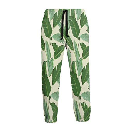 AEMAPE Pantalones de chándal Color de Hojas de Palmera Rosa Pantalones novedosos para Hombre Pantalones de Jogging Ropa Deportiva Informal