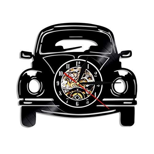 mbbvv Reloj de Pared con Disco de Vinilo de diseño Moderno con Tema en Forma de Coche, Reloj de Pared artístico para decoración del hogar, Transporte en Coche Familiar Retro clásico
