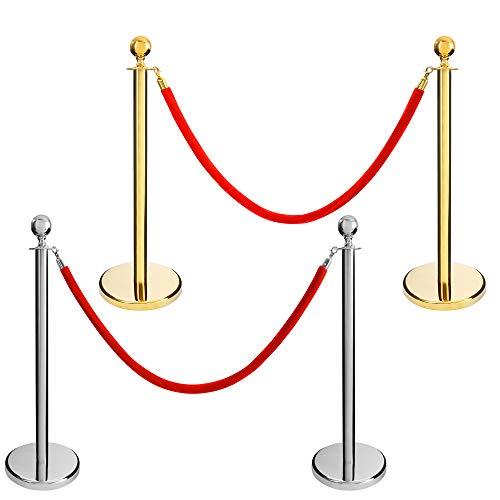 AREBOS 2X VIP Personenleitsystem | Gold | mit 4- facher Befestigungsmöglichkeit | 96 cm Höhe | Absperrständer/Absperrpfosten