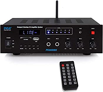 Wireless Bluetooth Karaoke Amplifier Home Car Bus Tours 300 Watts 2 Channel Digital Home Audio PA Receiver System 2 Microphone Input Control FM Radio USB,12 Volt Power Option Pyle PFA600BU