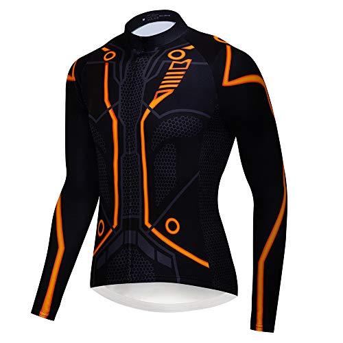 logas Maglia Ciclismo Uomo Abbigliamento MTB Manica Lunga Maglietta Bici con Tasche