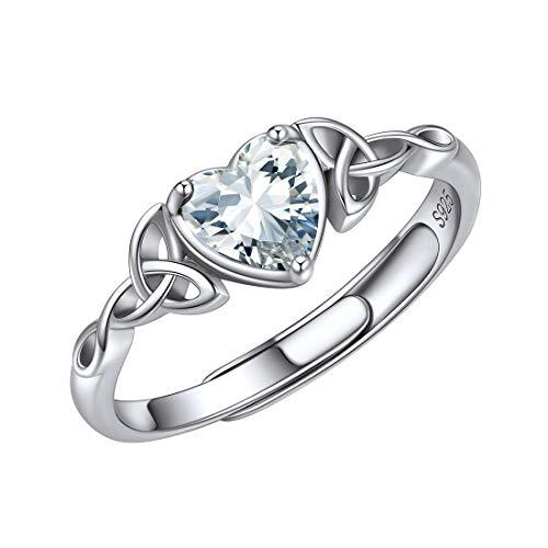 ChicSilver Piedras Corazón Blanco Anillos Modernos Irlandas Nudo Celta Triángulo Anillo Ajustable Antialérgico Plata de Ley 925 Regalo Cumpleaños Abril Diamante Joyería Deliciosa para Mujeres