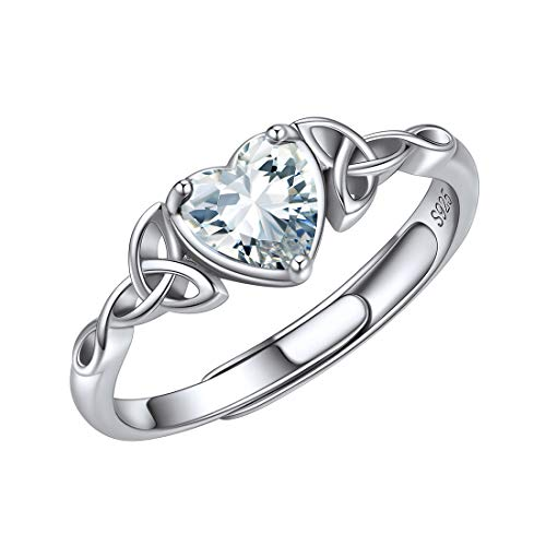 ChicSilver 925 Sterling Silver Ring for Women White Diamond April Birthstone Heart Eternity Bands Promise Rings Irish Celtic Jewelry