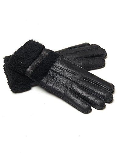 YISEVEN Damen Shearling Lederhandschuhe mit Gefüttert Winter Lammfell Leder Autofahrer Handschuhe Geschenk, Schwarz XL
