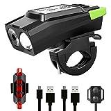 ExH Eclairage Vélo Etanche, Nouveaux Feux de Bicyclette USB Double Lentille LED Éclairage Avant de Bicyclette avec 6 Modes Déclairage Réglage Automatique de La Luminosité