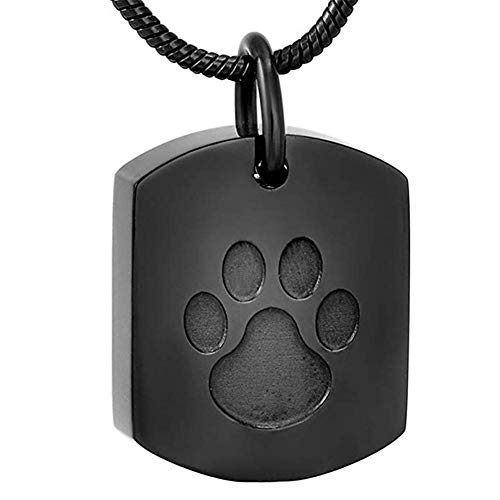 QZH Paw Print Cremation Jewelry for Ashes Ashes Holder Memorial Keepsake Jewelry for Pet's/Cat/Dog's Ashes,Black