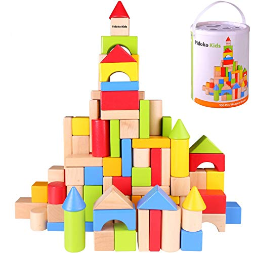 Pidoko Kids Wooden Building Blocks Set - 100 Pcs - Includes Carrying Container - Hardwood Plain & Colored Wood Block for Boys & Girls (100 Pcs)