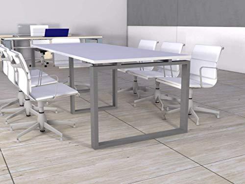 OFICIT Mesa de reunión de Marco Cerrado de 240cm x 100cm en Color del Tablero Blanco, Color Estructura Gris, Entrega de 3 a 5 días hábiles.