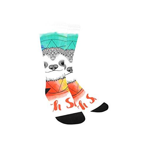 InterestPrint Watercolor Rainbow Sloth High Tube Elastic Fabric Socks for Kids