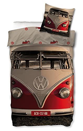 VW Volkswagen Bulli Bettwäsche T1 Rot 135 x 200 cm + 80 x 80 cm 100{8aa2774417913636f76ae6cd1c97c45bace246339cadad8558e199a3fee91415} Baumwolle Biber-Flanell-Qualität VW-Bus Oldtimer Car Retro Typ 2 T1 T2 T3 Camper Van mit Reißverschluss Deutsche Größe 141