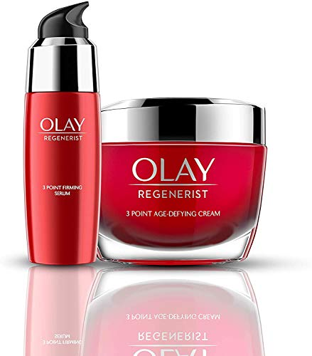 Olay Regenerist Favourites Set, Anti Ageing 3 Point Super Firming Serum and Firming Anti Ageing Face Cream Moisturiser with Hyaluronic Acid