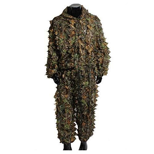 Geagodelia - Tuta da adulto Ghillie mimetica con foglie 3D, 2 pezzi, giacca con cappuccio + pantaloni elastici in vita, per caccia alla giungla Verde Taglia unica