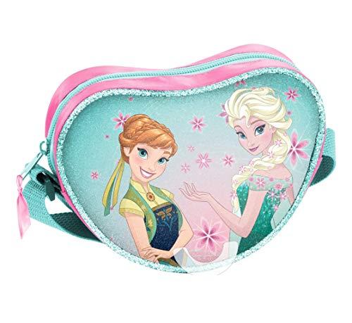 Disney Frozen - Die Eiskönigin, Elsa Anna Olaf, Handtasche Schultertasche Umhängetasche in Herzform (DRL), blau/rosa, 17 x 15 x 5 cm