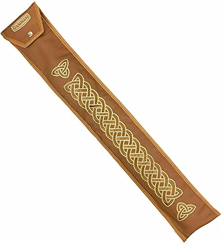 """Handmade Irish Low D Whistle Flute Case/Sleeve by Dannan in Brown Vegan Leather with Traditional Celtic Embroidery 4'x 24"""""""