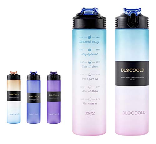 DLOCCOLD 30oz Motivational Fitness Sports Water Bottle with...