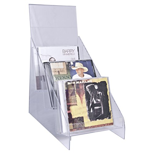 Clear-Ad - CDH-03 - Vertical Plastic Desktop CD Display Rack - Standing Countertop Acrylic Three Tier Compact Disk Holder with Sign Frame for Tabletop (Single Pack)