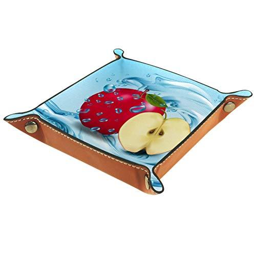 KAMEARI Bandeja de cuero rojo manzanas frutas realistas clave teléfono monedero cuero vacuno monedero bandeja práctica caja de almacenamiento