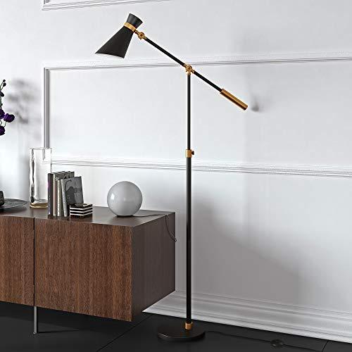 Evelyn&Zoe Industrial Metal Height-Adjustable Two-Tone Floor Lamp