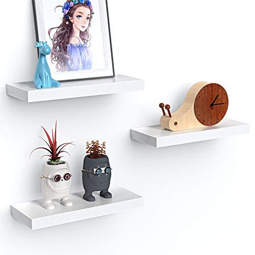 STOREMIC Wandregal, Weiß Regale für die Wand 3er-Set, Moderne dekorative Ausstellungsregale mit Unsichtbare Montage L38 x B17 cm für Schlafzimmer, Küche, Büro, Wohnzimmer usw.