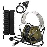 TAC-SKY COMTA III - Auriculares tácticos electrónicos con orejeras de silicona y micrófono, ideales para deportes y caza, Airsoft al aire libre (ejército verde)