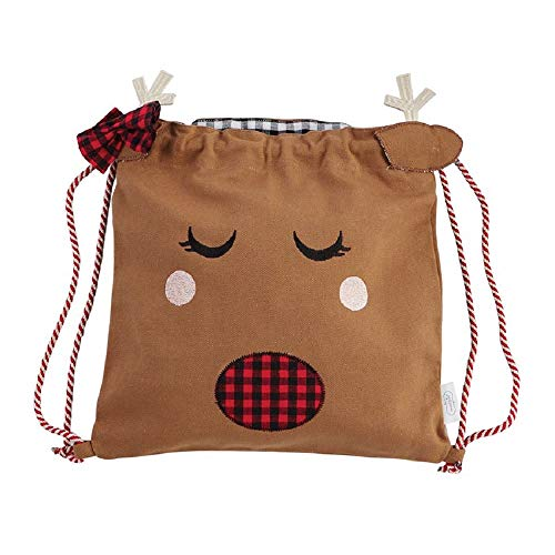 Mud Pie Girl Reindeer Drawstring Back Sacks