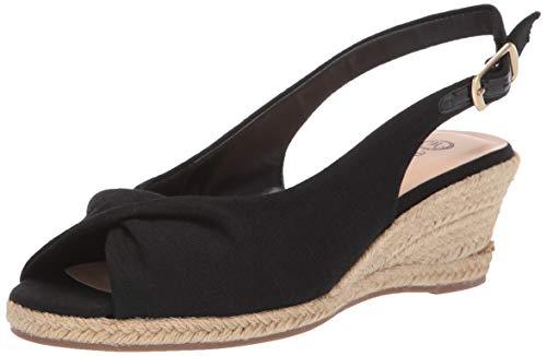 Bella Vita Women's Sylvie II Espadrille Sandal Shoe, Black Linen, 6.5 M US