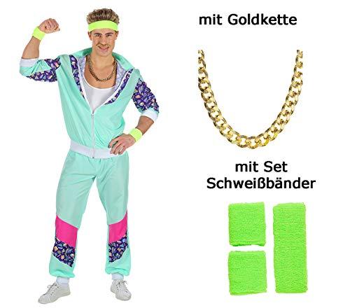 80 er Jahre Trainingsanzug - Jogginganzug Proll in türkis Gr. S bis XXL + Goldkette + Schweißbänder (Large)