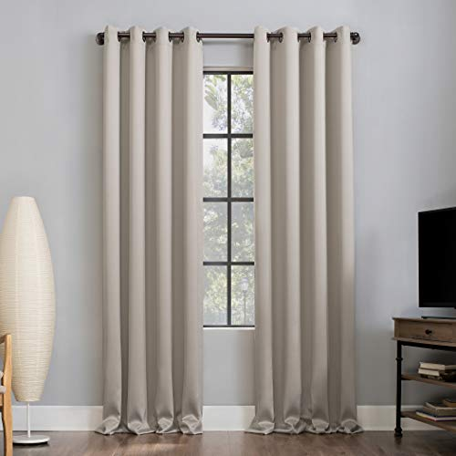 """Sun Zero Nordic 2-Pack Theater Grade Extreme Total Blackout Grommet Curtain Panel Pair, 52"""" x 84"""", Stone"""