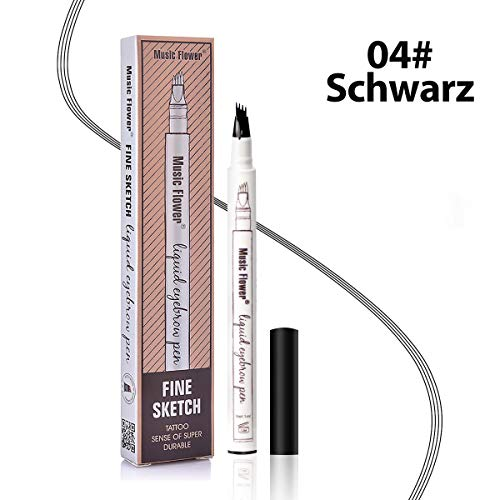Augenbrauenstift Wasserfest - Waterproof Microblading Eyebrow Pen mit Tips Wasserfester Langenhaltend für Natürlich Augenbrauen Schminke (Schwarz)