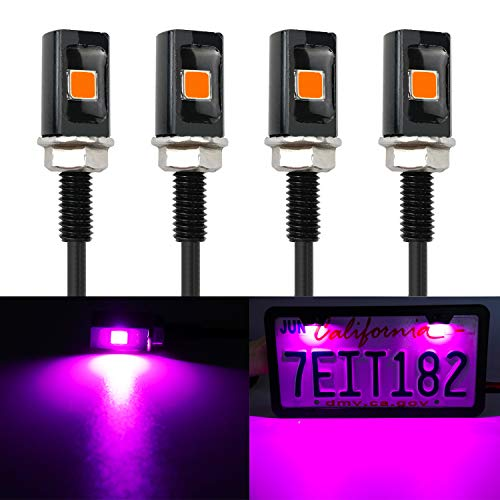LivTee Super Bright 12V Waterproof Tag Screw Bolt License Plate LED Lights Holder Legal for Car Motorcycle Truck RV ATV Bike, Purper(4PCS)