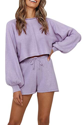 ZESICA Women's Casual Long Sleeve Solid Color Knit Pullover Sweatsuit 2 Piece Short Sweater Outfits Sets Purple