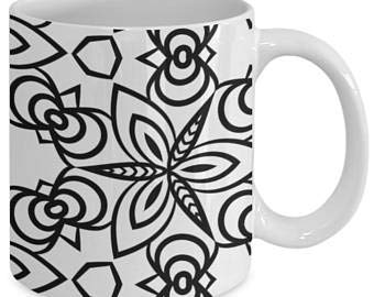 Taza de café con diseño de mandala, para adultos, color me, taza de café, diseño de mandala, color 55