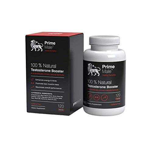 Prime Male Premium Testosterone Booster for Men, A Unique Blend of 12 Natural Ingredients, Vitamins and Minerals, 120 Capsules