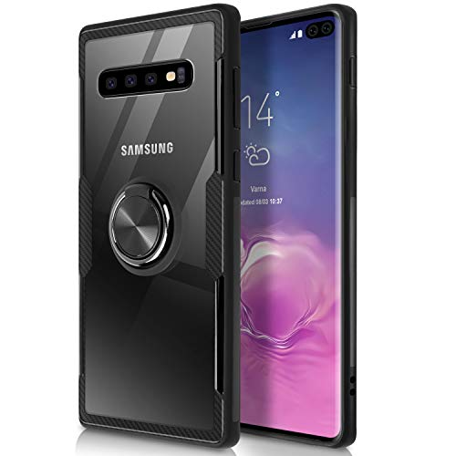 WATACHE Galaxy S10E Case, Clear Crystal Carbon Fiber Design Armor Protective Case with 360 Degree Rotating Finger Ring Grip Holde Stand [Magnetic Car Mount Feature] for Galaxy S10E,Black