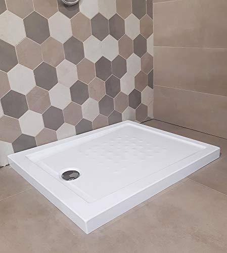 Piatto doccia acrilico rinforzato cm H 5,5 x 70 x 120 bianco con piletta cromata