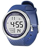 TOMORO Vogue Men's 100M Waterproof TPU Resin Band Large Digits Digital Dive Outdoor Sports Watch (Can Be Pressed Underwater) (Blue)