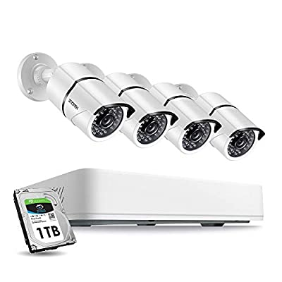 ZOSI 5MP Security Cameras System 4 CH 5.0MP (2.5 X 1080P) Surveillance DVR and (4) 5.0MP 1920p (2560TVL) Weatherproof Bullet CCTV Cameras 100ft Night Vision with 1TB Hard Drive