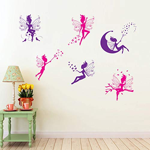 Cartoon Sechs Kleine Fee Wandaufkleber Für Kinder Mädchen Zimmer Home Decor Diy Kunst Hintergrund Decals Dekorationen Nette Elf Aufkleber