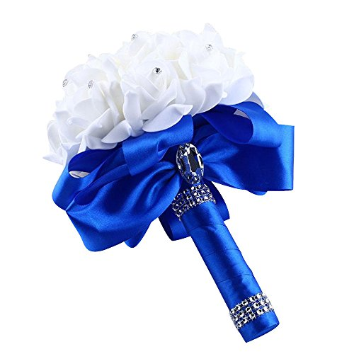 Alelife Wedding Bouquet Bridal Artificial Silk Flowers - Crystal Roses Pearl Bridesmaid -Artificial Flowers for Home Garden Party Wedding Decoration (Blue)