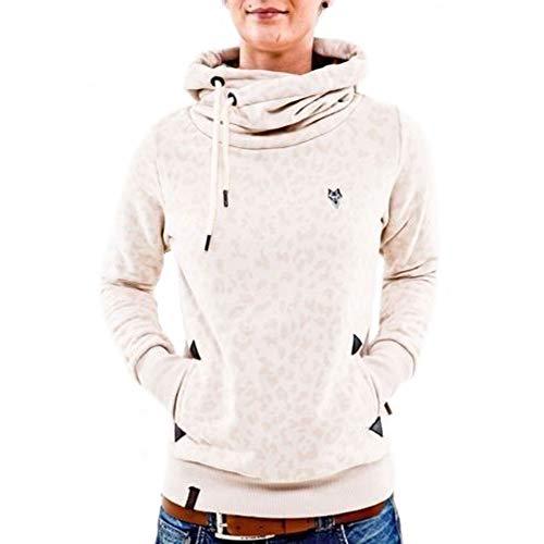 CHIYEEE Damen Lange Ärmel Hoodie Frauen Kapuzenpullover Pullover mit Kapuze Cross Over Kragen und Fleece Innenseite Beige XL